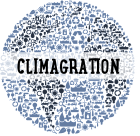 The words Climagration in black over top of a globe made up of the bunch of environmental symbols in shades of blue such as suns, water, birds, butterflies, recycling symbols, boats etc