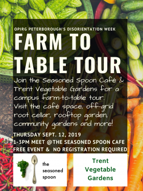 baskets of cucumber, carrots and hot peppers, with event text over top plus seasoned spoon and trent vegetable garden logos