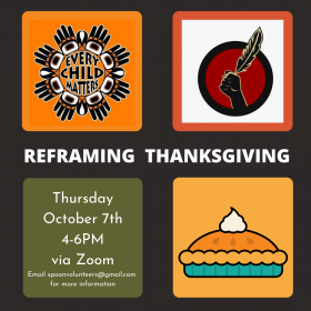 Black background with four colored squares, one in each corner. One features a yellow background with a pumpkin pie graphic, another features an orange background with the Every Child Matters logo, a red square with the Idle No More logo.